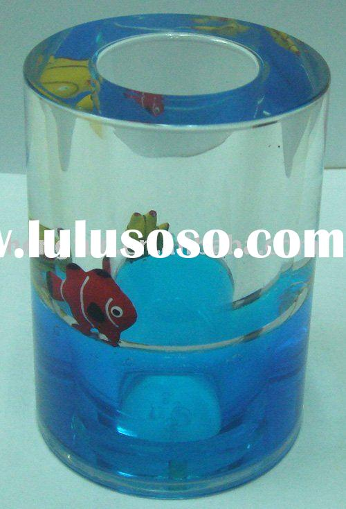 Acrylic liquid cylindrical pen holder with fishes floating