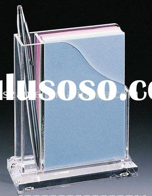 Memo & Pen Holder with Paper,Acrylic leaflet Holder