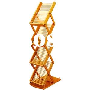 Mobile Portable Bamboo Brochure Catalogue Flyer Shelf Stand Holder / Banner Stand with Bag / Case