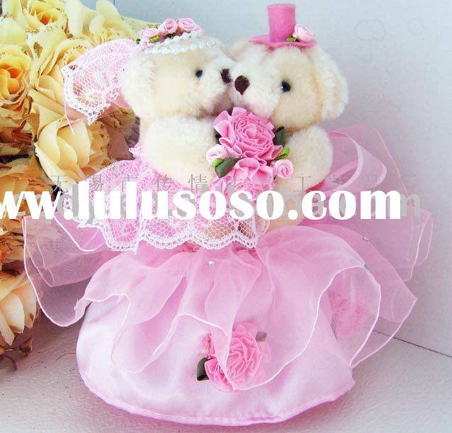 Pink lovers bear wedding pen holder/wedding decoration/wedding gift/wedding guest book pen holder