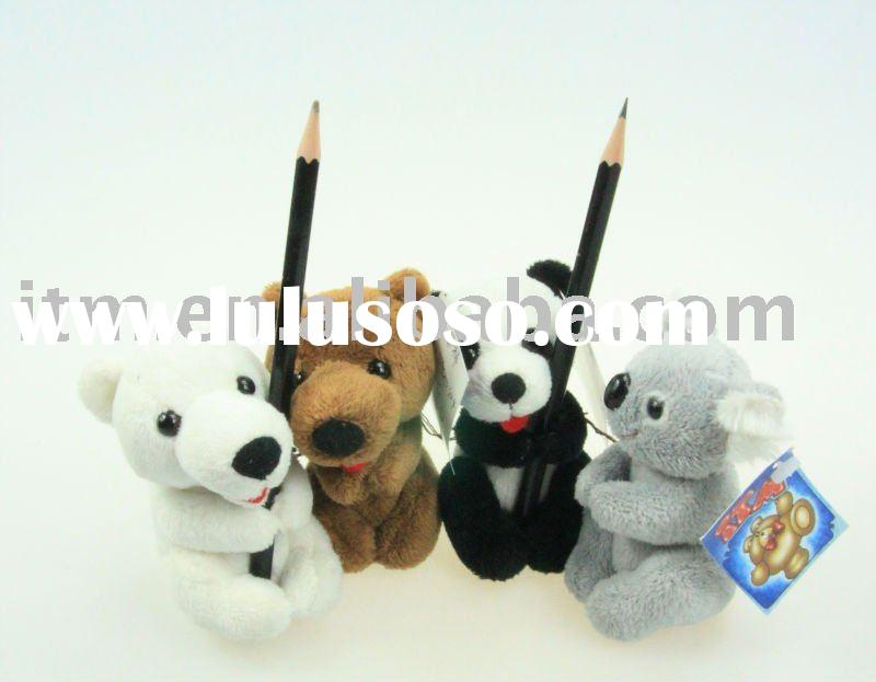 Plush animal pen clip/Plush animal pencil clip/Stuffed pen clip/Stuffed animal pencil clip