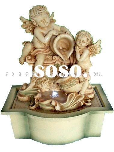 Small cupid water table fountain with LED indoor ornaments