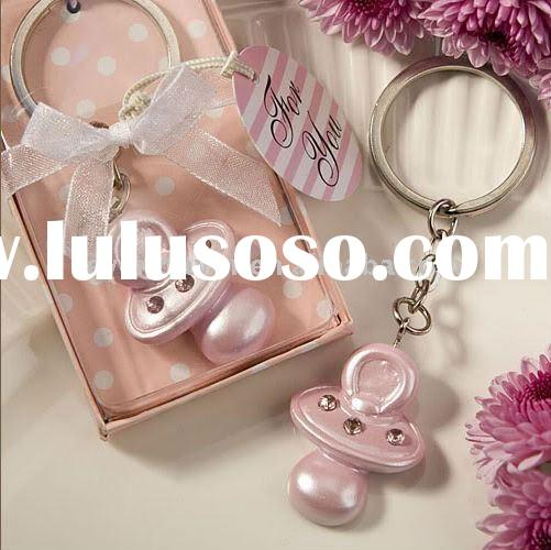 Wedding Favors  Baby Pink Pacifier Keychain Christening Favors(Baby presents)