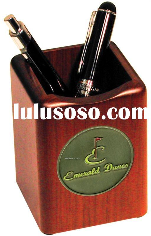 leather printing pen cup/pencil holder