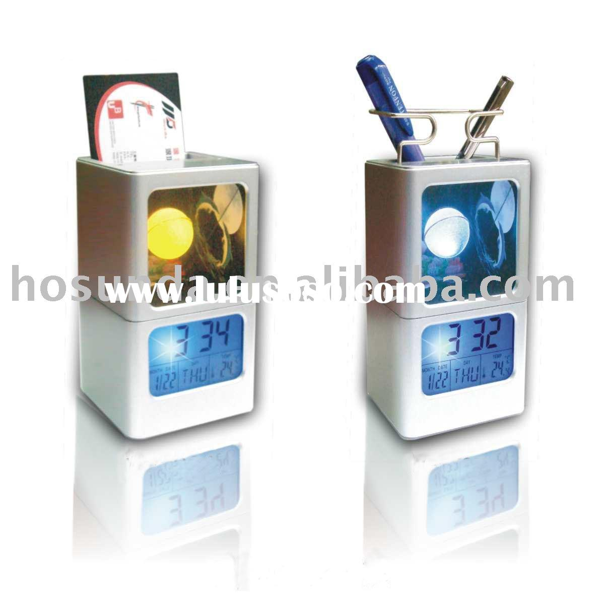 pen holder alarm clock/digital promotion clock/desk clock
