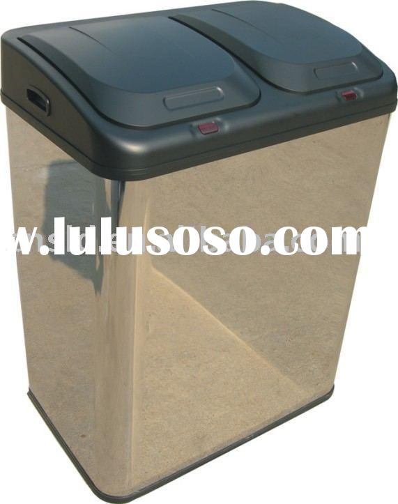 70L Metal recycling bins Stainless steel trash can