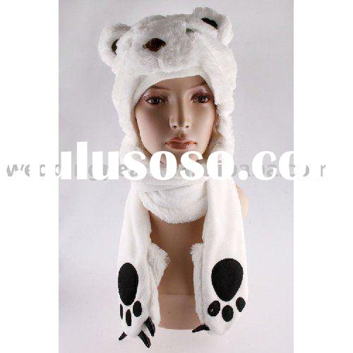 LOVELY PARTY CARTOON PLUSH ANIMAL WINTER HAT WITH SCARF & MITTENS LH131