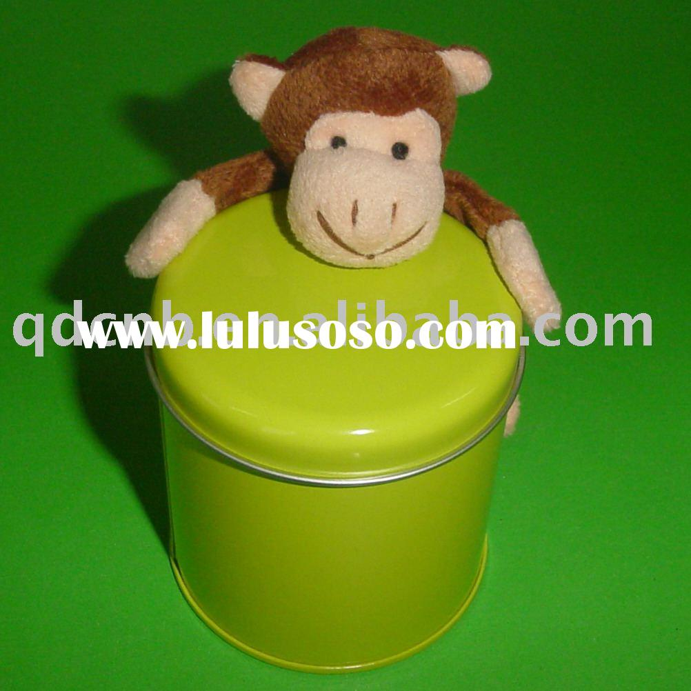 Magnet Monkey Magnet Plush Monkey with Tin Box Mini Plush Monkey Keychain Stuffed Animal Mobile Phon