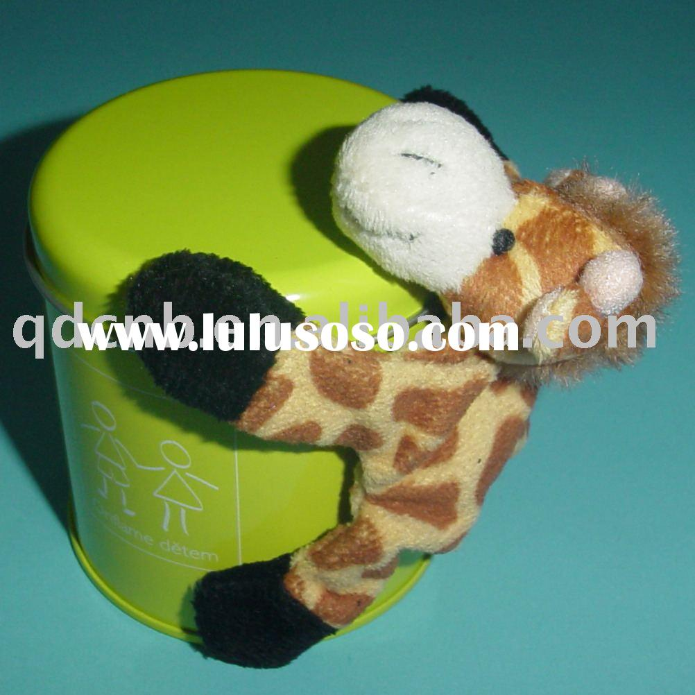 Magnet Plush Giraffe With Tin Box Mini Plush Giraffe Keychain Stuffed Animal Mobile Phone String Toy