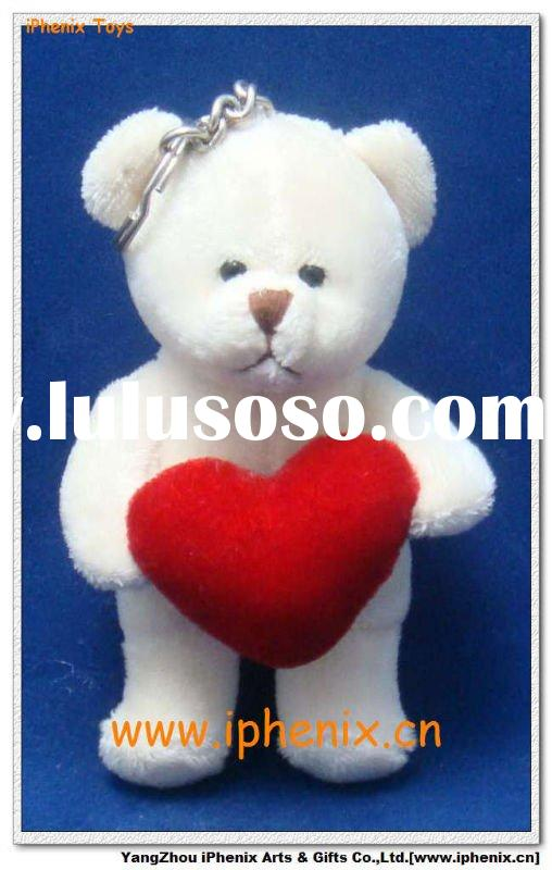 Plush & Stuffed Toys-White Bear with Heart Keychain