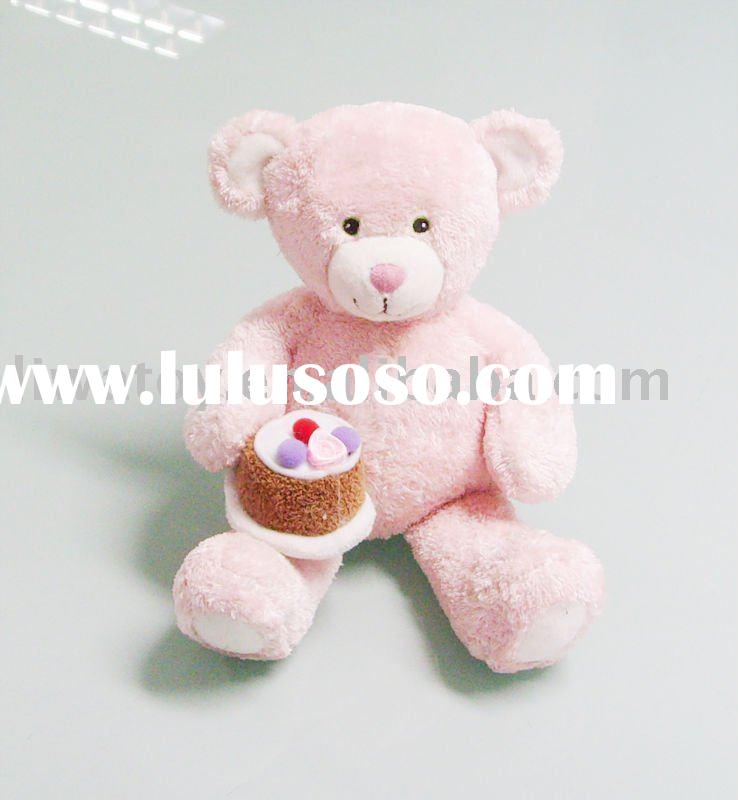 Plush stuffed toys-animal toy-bear with a cake