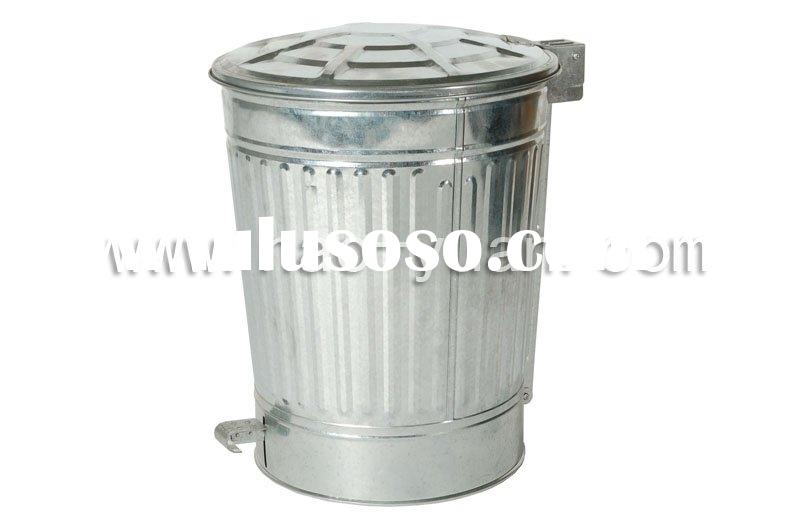 galvanized waste bin with pedal