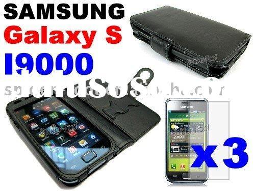 Black leather case for Samsung I9000 Galaxy S