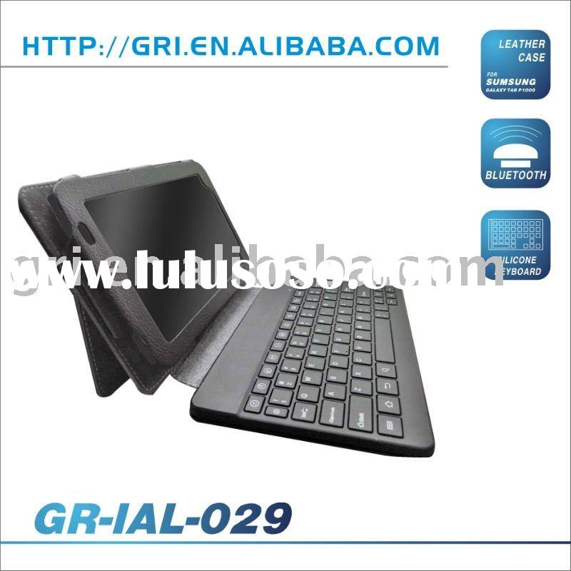 Bluetooth Wireless keyboard with leather cover case for Samsung Galaxy Tab P1000