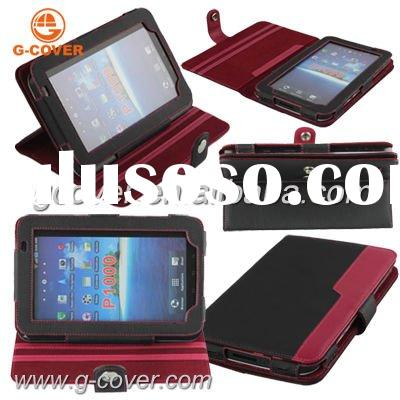 Brand new genuine leather case for Samsung galaxy tab p1000, hot sale