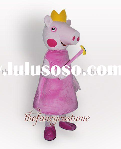 Crown Peppa Pig Mascot Costume Hallowmas Christmas Carnival Party Dress