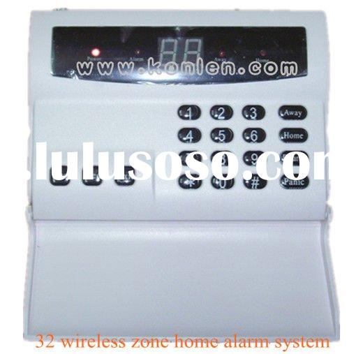 Economical 32 zone wireless home alarm system with LCD and LED