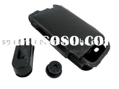 Genuine Leather Case with Belt Clip + Protector for Samsung i8000 Omnia II