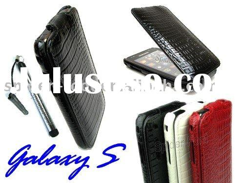 Glossy Slim Vertical Flip Crocodile Pattern Leather Case for Samsung I9000 Galaxy S