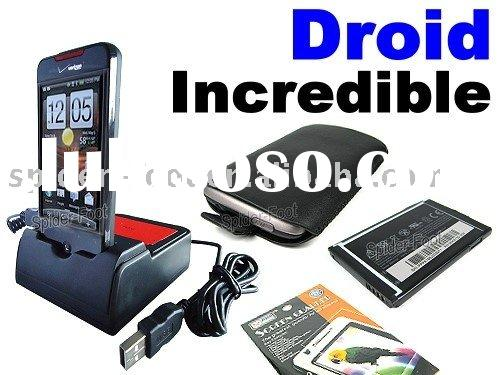 HotSync Charger +leather case for Verizon HTC Droid Incredible ADR6300