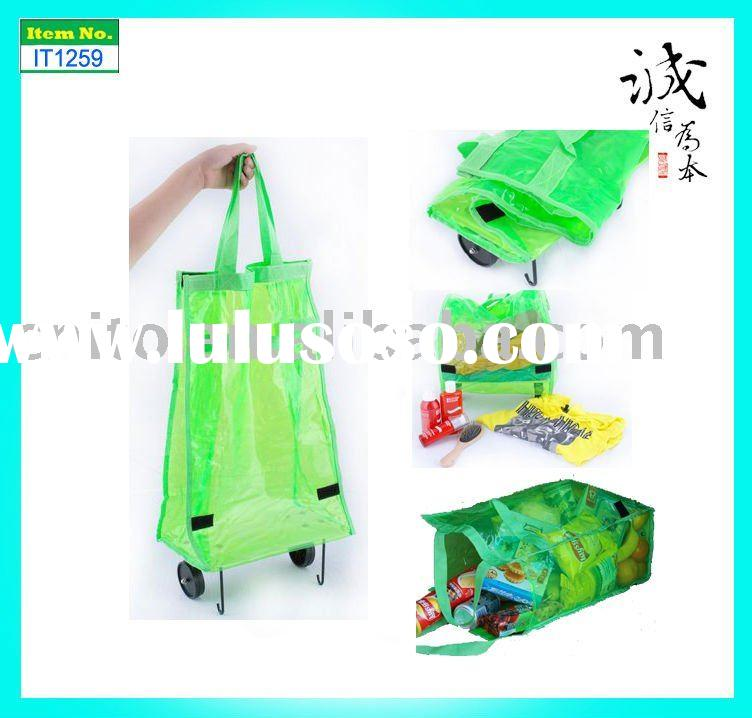 Reusable Collapsible Foldable Rolling Wheeled Luggage Portable Tote Supermarket Shopping Grocery Bag