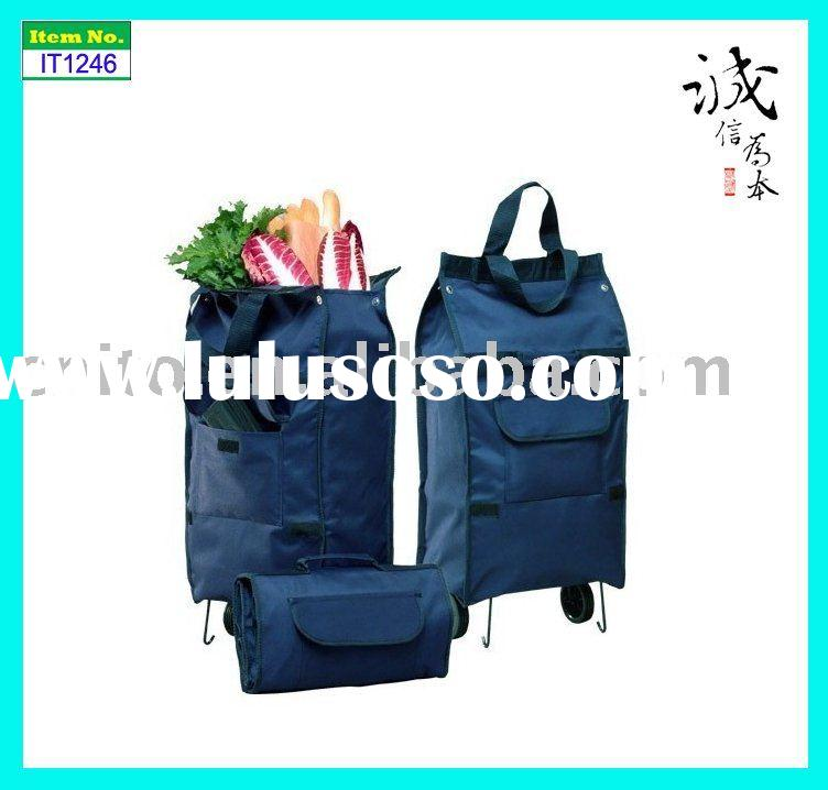 Reusable Collapsible Folding Rolling Wheeled Luggage Portable Tote Supermarket Shopping Grocery Bag