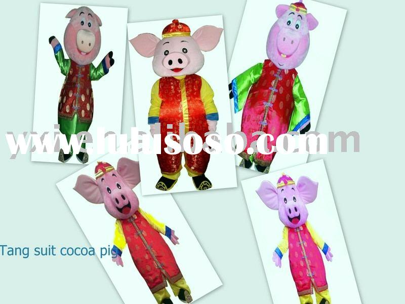 Tang suit cocoa pig mascot costume