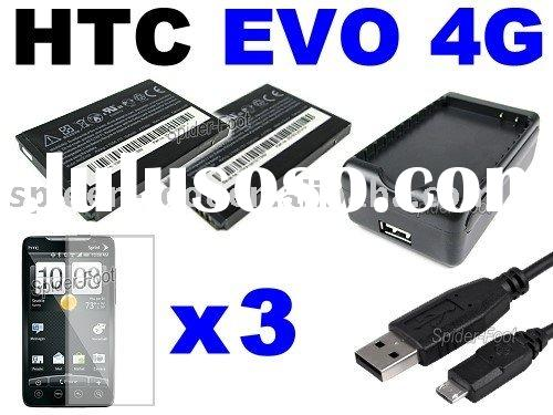 USB AC Wall + Battery Dual Charger 3x Screen Protector for Sprint HTC EVO 4G A9292
