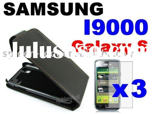 Vertical Black Flip leather case for Samsung I9000 Galaxy S
