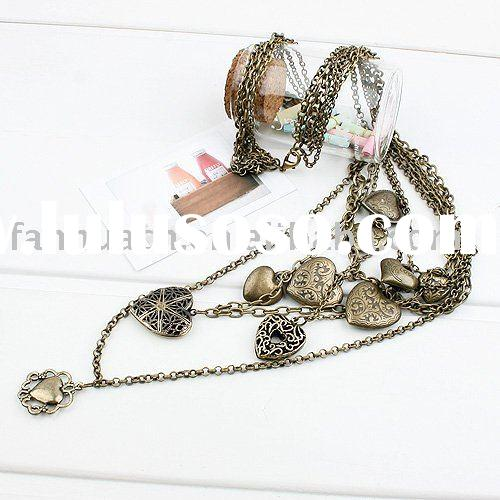 Antique design classic heart element multi-layer necklace