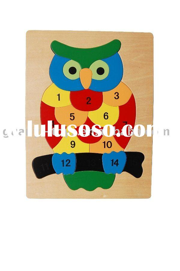 Wooden child toy owl puzzle