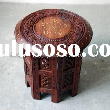 "100% guarantee Wooden handmade carved 18"" folding round table  --furniture stool corner table"
