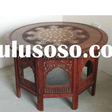 "100% guarantee Wooden handmade carved 30""*18"" folding round table  --furniture stool corne"
