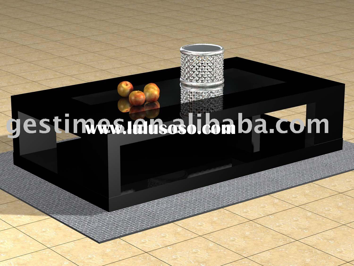 2010 modern black and white glass coffee table  G8016D1.4