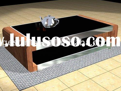 2010 new style modern black metal glass coffee table G8070D1.4