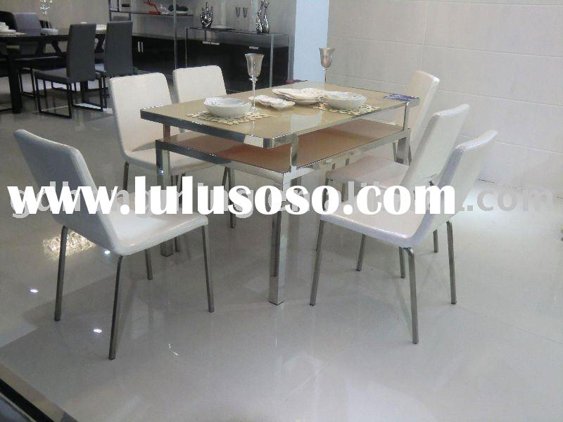 2011 Contemporary stainless steel base tempered glass dining table metal furniture