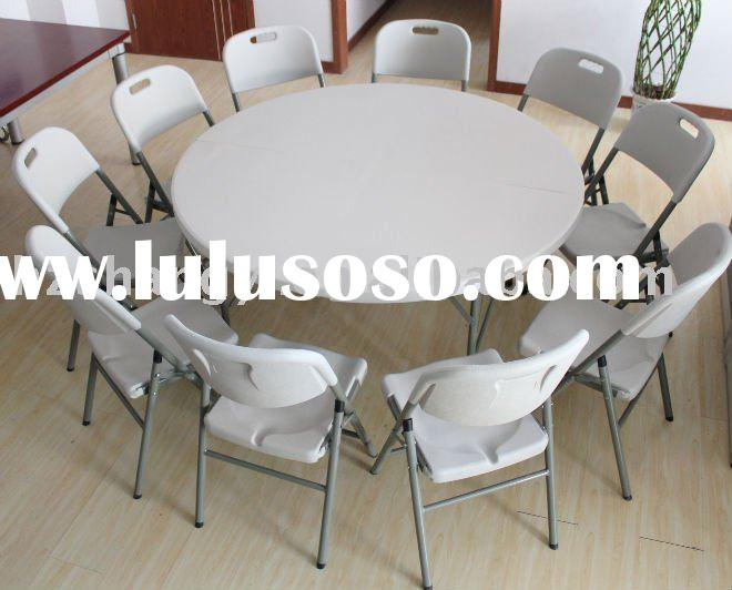 60 inch granite white plastic round folding table and chair set