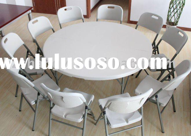 60in plastic round folding table and folding chair
