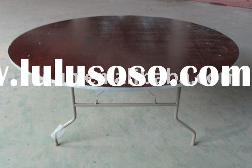 "72""round plywood folding table with lacquer"