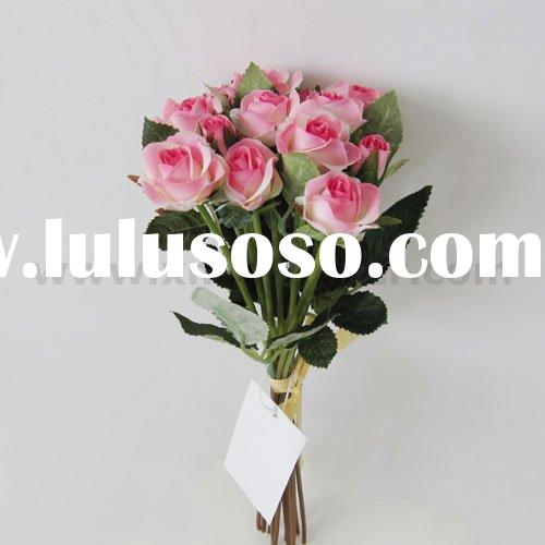 "Artificial 10"" Centerpiece Flower Arrangement Silk Rose Bundle in Pink Color"