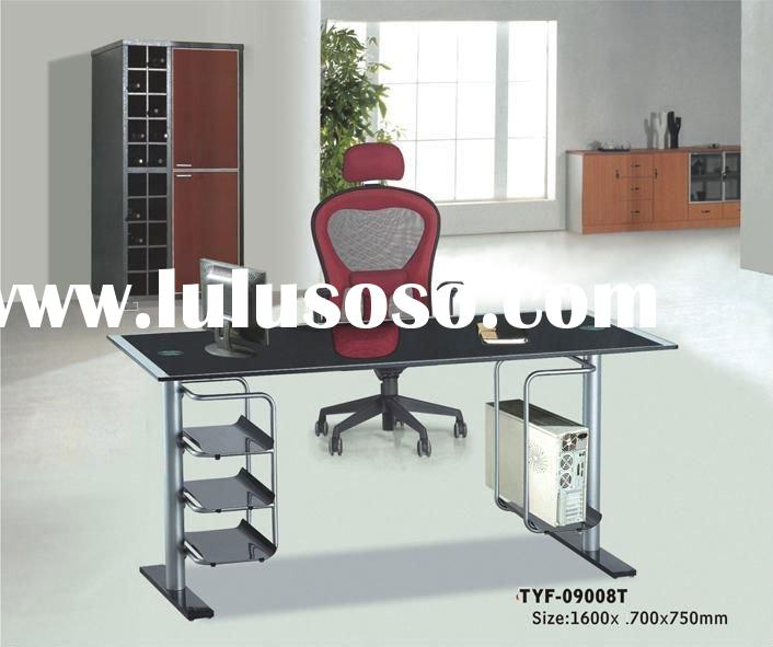 Black tempered glass top office computer table seller