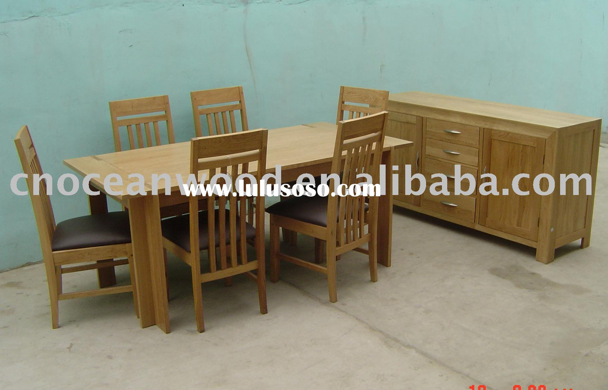Dining Sets,table,slatted chairs,half-moon handle sideboard