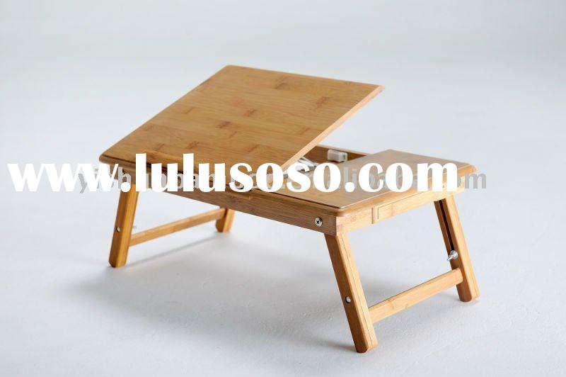 Folding and Adjustable Bamboo Notebook Bed Table