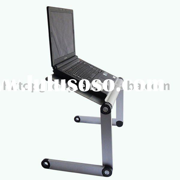 Folding laptop over bed table, 360 degree adjustable and folding