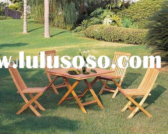 Folding outdoor wooden table and chair