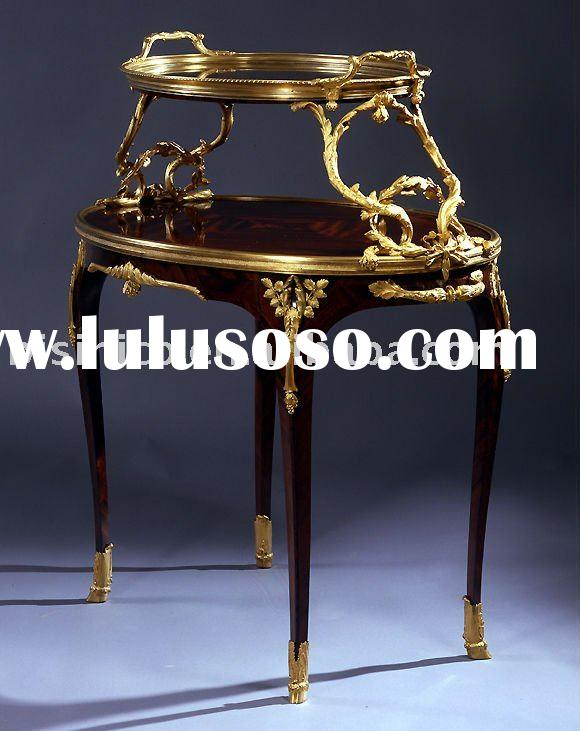 French hand carving chest/coffee table,black color, gold plated