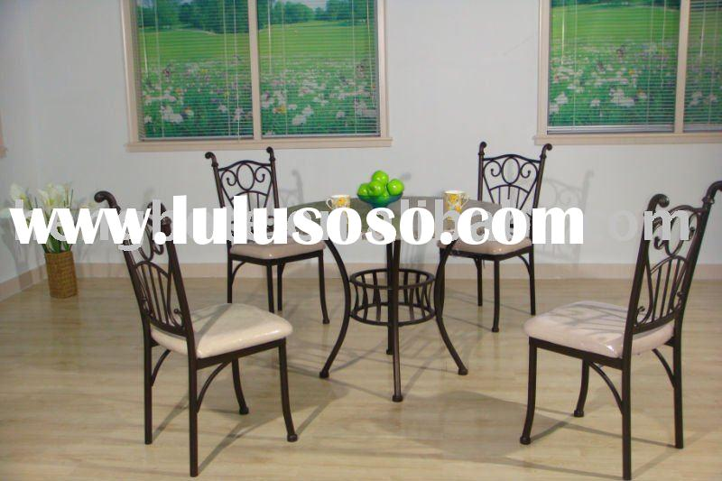 Marble top Round Dining Table and Metal Chairs