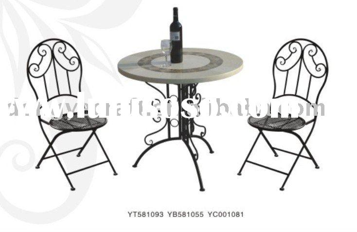 Modern Leisure Patio Small Round 3 Piece  Marble Table Sets