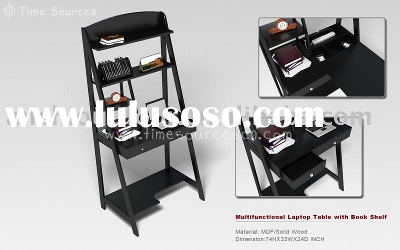Multifunctional wooden laptop table with bookshelf   Laptop    Bookshelf   Charge station