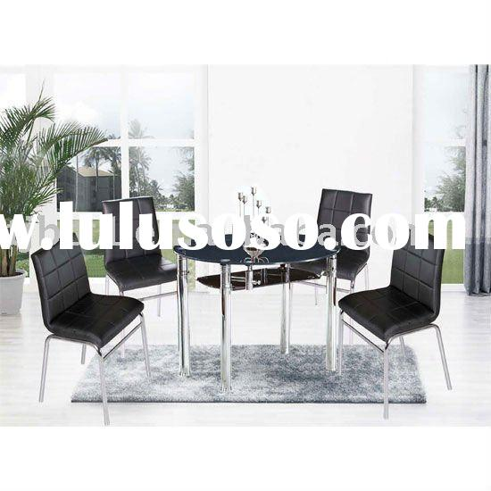 Round Black Glass Extending Dining Table